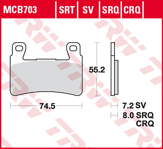 Bremsbelag TRW Sinter Rennsportbelag CBR 600 RR PC37 03-04 vorne